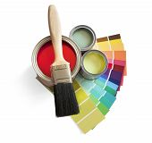 image of paint pot  - coloured swatches and paint pot and paintbrush on white background - JPG