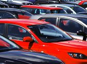 foto of parking lot  - Telephoto view of cars parked in parking lot - JPG
