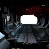 stock photo of starship  - background or composing image inside a futuristic scifi spaceship - JPG