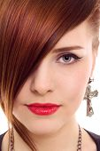 beautiful red hair woman close up style portrait