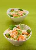 prawn noodle salad with baby spinach ,carrots and sugar snap peas