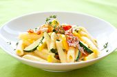 penne with sauce carbonara,bacon and courgettes