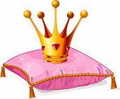 Corona de la princesa en la almohada rosa