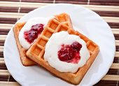 dessert with soft waffle