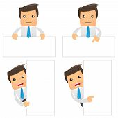 set of funny cartoon office worker