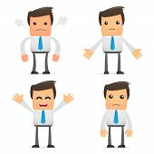pic of angry smiley  - set of funny cartoon office worker in various poses for use in presentations - JPG