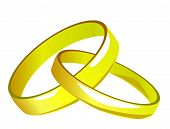 Two linked gold wedding rings