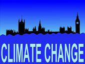Houses of parliament London flooded due to climate change