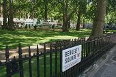 Berkeley Square with sign, Mayfair, London