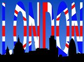 St Paul's cathedral and London skyscrapers with flag text