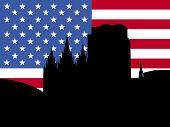 Salt Lake city skyline with American flag illustration