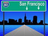 San Francisco skyline and interstate 80 illustration JPG