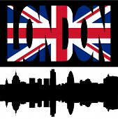 silhouette of London Skyline and London flag text illustration