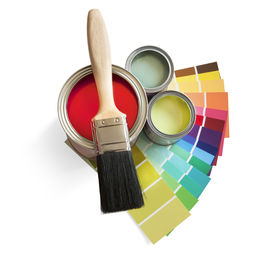 stock photo of paint pot  - coloured swatches and paint pot and paintbrush on white background - JPG
