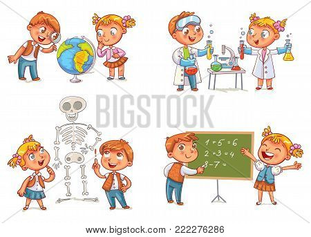 poster of Children in the lesson of geography, chemistry, mathematics and biology. Funny cartoon character. Vector illustration. Isolated on white background