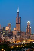 image of willy  - Image of Willis Tower and skyline of Chicago at sunset - JPG