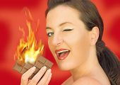 young woman burning chocolate