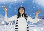 Girl is happy about snowfall. keyword for this collection is: snowmakers77