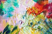 fine art, creativity and concept - close up of colorful painting poster