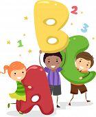 Illustration of Kids Holding Giant Letters