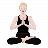 Yoga Pose, Woman Meditating In A Lotus Pose, Vector Multicolored Drawing Portrait. Meditation Relaxa poster