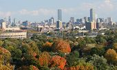 stock photo of prudential center  - Boston City including Harvard stadium in the fall - JPG
