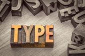 type word abstract in vintage letterpress wood type printing blocks, color combined with black and w poster