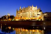Cathedral of la Seu Majorca in Palma de Mallorca reflection over lake at Balearic islands