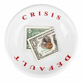 Economy Crisis Of Usa Dollar Currency Concept Photo With Default Sign On White Plate