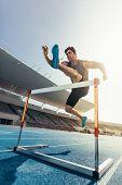 Sprinter Running On Track poster