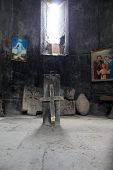 stock photo of apostolic  - Interior of armenian apostolic church in dark Armenia - JPG