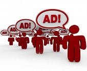 Many red people standing in front of you saying Ad in speech clouds representing an overload in adve