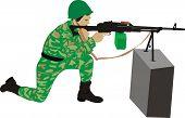 O atirador com uma metralhadora