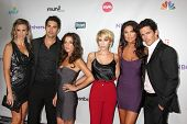LOS ANGELES - AUG 1:  Jenna Gering, Galen Gering, Kelly Monaco, Farah Fath, Nadia Bjorlin, Brandon Beemer arriving at the NBC TCA Summer 2011 Party at SLS Hotel on August 1, 2011 in Los Angeles, CA