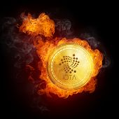 Golden IOTA coin in fire flame is falling. Burning crypto currency IOTA falling down, blockchain cry poster