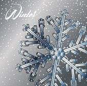 Winter Background With Snowflakes. Winter Holiday And Christmas Background. Vector Snowflake. Abstra poster