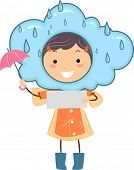 Illustration of a Kid Holding Blank Note Representing Rainy Weather