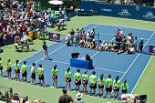 Ceremony after Serena Williams USA wins in final game at the Bank of the West Classic