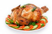 picture of spit-roast  - The chicken fried on a spit on a white background - JPG