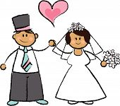 Cartoon Illustration Of A Wedding Couple (vector)