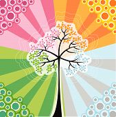 4 Seasons Magic Tree (Vector) - Conceptual Illustration