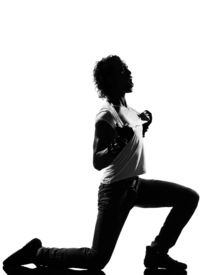 stock photo of b-double  - full length silhouette of a young man dancer dancing funky hip hop r - JPG