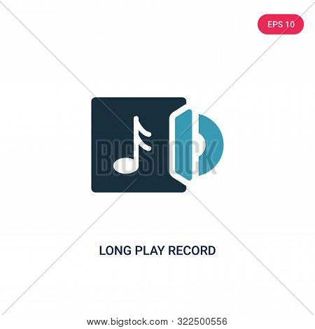 poster of long play record cover icon in two color design style.