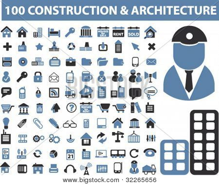 Picture or photo of 100 construction architecture icons for Architecture icon