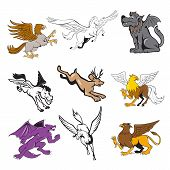 Set Or Collection Of Cartoon Character Mascot Style Illustration Of Legendary, Mythical, Mythologica poster