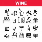 Wine Product Collection Elements Vector Icons Set Thin Line. Wine Bottle And Glasses, Barrel And Car poster