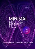 Electronic Fest. Wavy Concert Magazine Design. Dynamic Gradient Shape And Line. Neon Electronic Fest poster