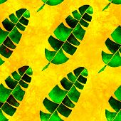 Tropical Seamless Pattern. Watercolor Childlike Palm Leaves, Japanese Bamboo. Green Exotic Swimwear  poster