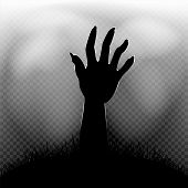 Halloween Zombie Hand In Dark Grass Silhouette And Transparent Fog On Background poster