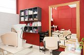 Modern Bright Beauty Salon. Hair Salon Or Make Up Store, Barber Shop And Manicure Business Interior poster